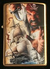 """Zippo by Mazzi """"AHOY MATEY"""" Printed Lighter on BRUSHED BRASS, New"""