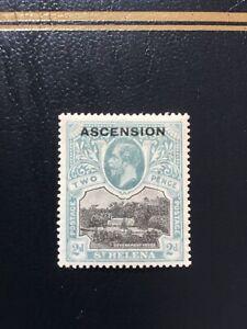 1922 ASCENSION KGV SG4 2d black & grey St Helena overprint - Mint Lightly Hinged