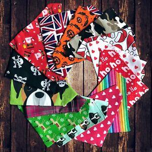 Dog Present Gift Neckerchief Bandana Slide Slip on Collar Scarf Neck Tie Various