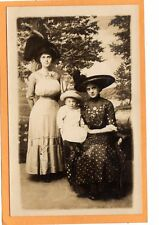 Studio Real Photo Postcard RPPC - Two Women and Child Wearing Great Hat