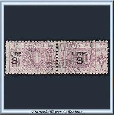 1925 Italia Regno Pacchi Postali Soprastampati L. 3 su 10 lilla n. 23 Usato