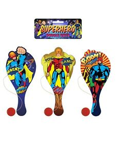 Wooden SUPERHERO Paddle Bat and Ball - Party Bag Fillers Stocking Gift