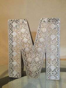 Metal Letter M Decorative Embossed  Monogram Home Accent.