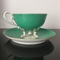 Splendide Tasse Porcelaine de Paris Napoléon III Fond Vert Forme Atypique XIXè