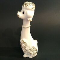 "FRENCH POODLE FIGURINE HAND DECORATED BISQUE 10""H WHITE & GOLD VINTAGE MCM"