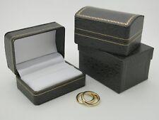 Bride & Groom Double Ring Box Black With Gold Gilt Trim Wedding Ring Box