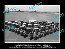 OLD LARGE HISTORIC PHOTO OF ANAHEIM POLICE DEPARTMENT UNITS c1961 CALIFORNIA