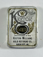 Unusual Antique Keeton Gold Manufacturing Advertising Tin Kansas City MO KS