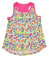 Skechers Active Girls Size 7/8 Sleeveless Tank Top, Multi Mosaic Tile/Pink Glo