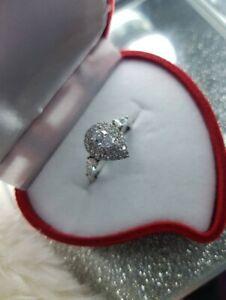 Womans Size P 1/2. 3CT Pear Shape Diamond & White Topaz Silver Ring