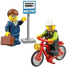 M238 Lego Fun in the Park Minifigures Bus Stop Lady & Bicycle Cyclist 60134 NEW