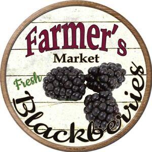 "Farmers Market Fresh Blackberries 12"" Round Metal Sign Rustic Kitchen Wall Decor"