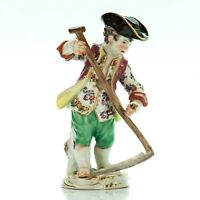 "Meissen Porcelain Figurine Farmer Boy | Germany Antique Vintage 5"" Tall #1475"