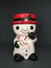Vintage Christmas Snowman Planter With Candy Cane And Pipe