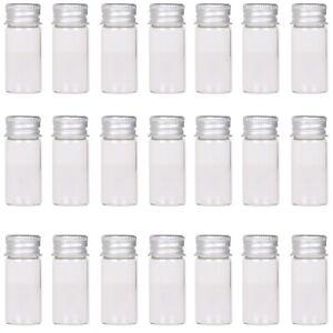 24X Tiny Vials 10ml Small Glass Bottles Mini Jars with Aluminum Screw Lids Top