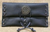 Drehertasche Tabaktasche Wotansknoten Leder schwarz Beutel Etui mit 3 Faecher