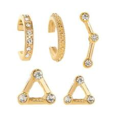 5Pcs Womens Crystal Ear Cuff Earrings Set Helix Cartilage Stud Fake Clip On Gold