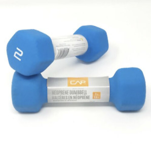 (1) PAIR 2lb CAP Hex Neoprene Dumbbell Weights NEW (4lbs TOTAL) - FAST SHIPPING!