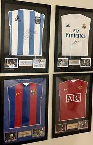 Maradona, Messi, Ronaldo, Zidane Framed Front Signed Jerseys -COA