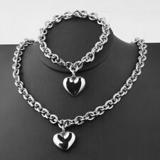 Women Stainless Steel Chain Necklace and Bracelet Jewelry Set With Heart Charm