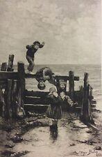 Ulysse Butin 1881 au bord de la mer gravé par Daniel Mordant XIXe enfants