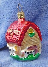 "1999 Old World Christmas Ornament #2057 Dairy Barn 3 1/4"" With Star Cap"