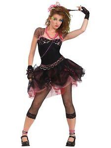 80s Diva Cyndi Madonna Pop Star 1980s Party Dress Up Womens Costume STD