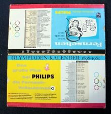 OLYMPIADS CALENDAR WITH SLIDABLE SCHEMES & RESULTS~1960~PROMO PHILIPS TELEVISION