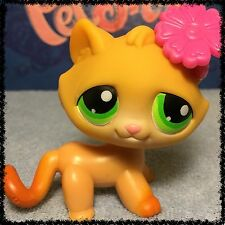 Littlest Pet Shop~#110 Yellow TABBY CAT Orange Paws Green Eyes~ Paws Down~