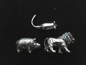 THREE MINIATURE 925 STERLING SILVER ANIMALS 27.5g  LION, HOG & MOUSE HALLMARKED
