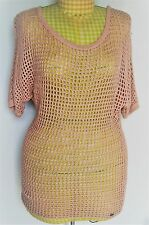 Womens Plus Guess Tan Fishermans Knit Pullover Sweater Blouse XL Summer Office