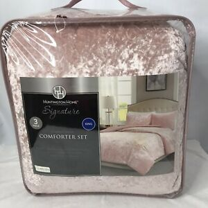 Huntington Home Signature Crushed Velvet Comforter Set Pink New