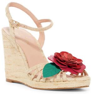 Kate Spade Beekman Women's Ankle Strap Wedge Heel Sandal in Natural Silk Size 9