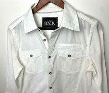 Buckle BKE Mens Shirt Small White Pattern Standard Fit Button - Silver Flip Cuff