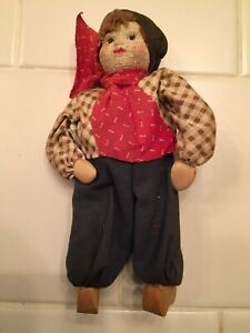 """Vintage Soviet Union  """"8084 A Boy"""" Doll Fabric, Stockinette Face 1920's Wooden"""