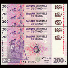 Lot 5 PCS, Congo 200 Francs, 2007, P-99, UNC