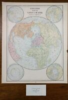 """Vintage 1900 GREATEST MASS of LAND and WATER Map 11""""x14"""" ~ Old Antique Original"""
