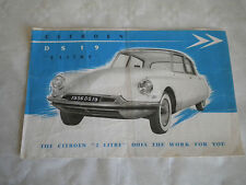 Citroen DS19 2 Litre brochure for Buckle motors Sydney australia 1956