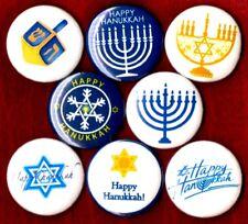 HAPPY HANUKKAH 8 NEW 1 inch pins buttons badges chanukkah menorah dreidel jewish