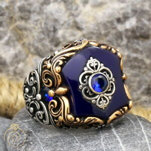 Blue Stone Men's Ring Sapphire Vintage Carved Heraldic Signet Jewelry For Men
