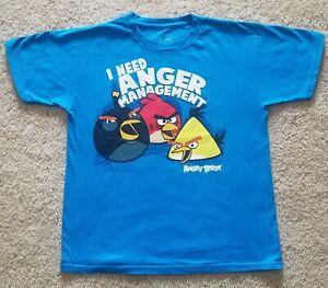 """*NEW* ANGRY BIRDS SHORT SLEEVE SHIRT-BLUE-YOUTH MEDIUM-""""I NEED ANGER MANAGEMENT"""""""