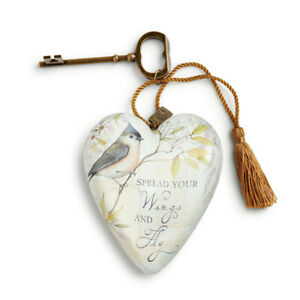 Spread Your Wings Blue Bird 4 inch Resin Stone Collectible Art Heart Figurine