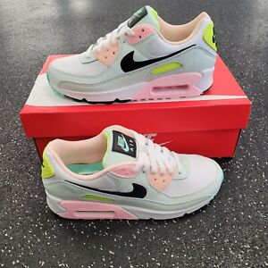 Nike Air Max 90 White Volt Green Glow Pink Gym Running Shoes Women Size 8