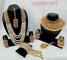 Indian Bridal Gold tone Pearl Chain Necklace Gold Plated Bollywood Jewelry Set