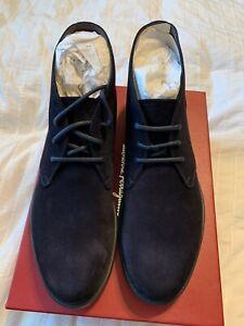 New Auth Salvatore Ferragamo Sachie 2 Chukka Men Suede Boots Shoes Navy 11 $795
