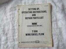 Minneapolis Moline T1800 Wing Chisel Plow Operators Instruction Manual Parts