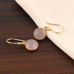 Round Shape Pink Chalcedony Cab's Yellow Gold Plated Drop Dangle Charms Earrings