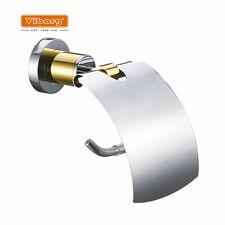 VIBORG Luxury Brass Toilet Roll Tissue Paper Holder Rack Chrome+Gold