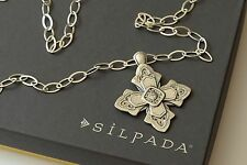 """Silpada NIB Etched Sterling Silver """"Ornate Cross"""" Link Chain Necklace N3430"""