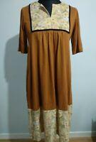Vintage Brown Umber Floral Smock House Dress Maternity Dress Size 10-14 England